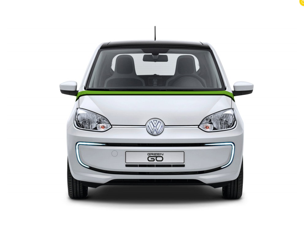 A Volkswagen e-Up! seen from the front with no background.