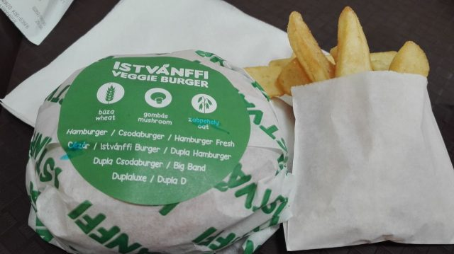 A wrapped veggie burger next to a portion of chips
