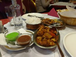 Alu gobi, punjabi chole, and rice